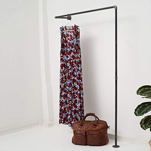 Various Kleiderstange Industrial Design - div. Größen, z.B. 100 x 180 x 28 cm - Wand-Garderobe für Jacken in L-Form - Wandmontage Links o. rechts - schwarz, Metall