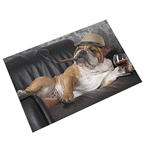 DLJIYZX Felpudo Bulldog con Cigarro y Entrada de Vidrio Felpudo de PVC con Respaldo Antideslizante, para Baño 40X60CM