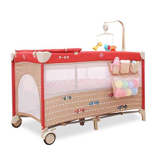LIU UK Baby Changing Table Lit bébé Pliant Multifonction, lit bébé européen Portable, avec roulettes lit Berceau Amovible, lit de Jeu, Rouge, Charge 15 kg