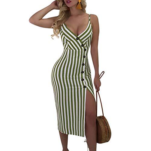 Joteisy Women's Sleeveless Spaghetti Strap V Neck Button Down Backless Tie up Stripe Sexy Bodycon Midi Dress