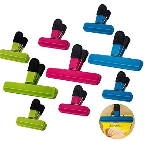 Lebensmittel-Clips,9 Stück Verschluss Clips Verschlußklemmen Kunststoff Tüten-Clips für Küche,Büro,Garage