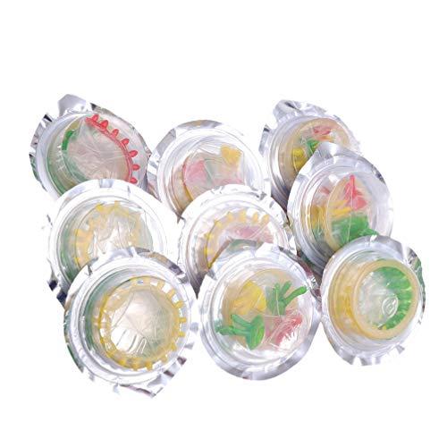 LUOEM 9 Stück Latex Kondome Blume Bunte Gesundheit Kondom Produkte Verzögern Kondome