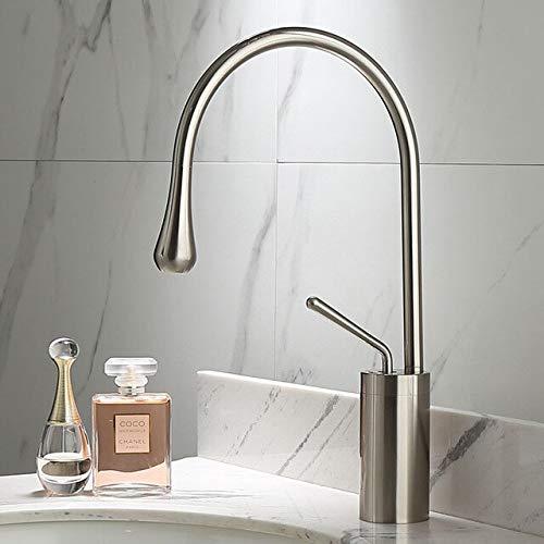 BDWS Grifo para lavabo dorado cepillado, simple, palanca de rotación 360, mezclador de latón, para cocina, lavabo de baño frío y caliente, fregadero Israel Níquel cepillado A2
