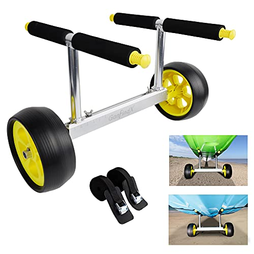 GanFindX Heavy Duty Kayak Cart for Carrying Kayaks and Canoes   100 kg/220 Lb Weight Rating Adjustable Width Kayaking Trolley with Flat-Free Wheels