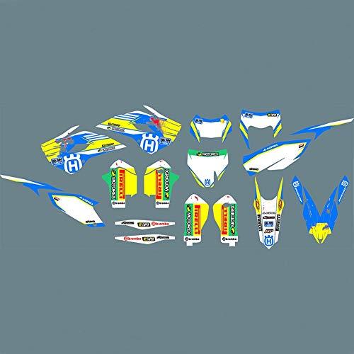 Pegatinas Adhesivos de Motocicleta for Husqvarna TC FC TE FE 125 250 300 350 450 501 2014 2015 Motocicleta Completa Pegamento Kit gráfico (Color : Green)