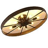 Retro Rad Deckenlampe, Runde Vintage Schlafzimmerlampe, 8-Flammig Deckenleuchte, Antik Esszimmerlampe, Ring Wohnzimmer Lampe, E14, Max. 60 W, Eisen, Ø68cm (Ø68cm-Anhänger nicht inklusive(8-Flammig))