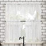 No. 918 Alison Floral Lace Sheer Rod Pocket Kitchen Curtain Valance and Tiers Set, 58' x 24' 3-Piece, White