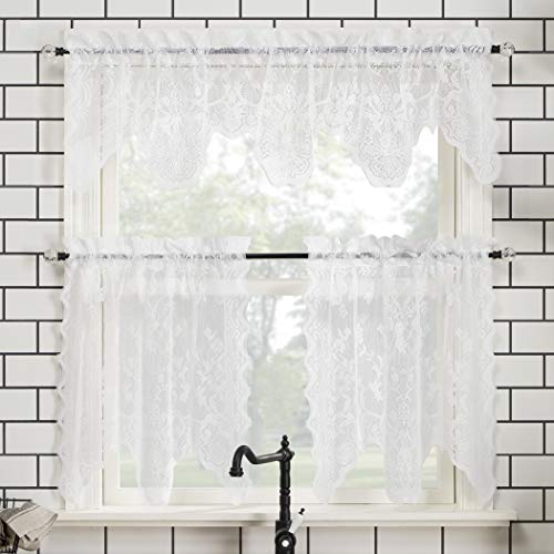 """No. 918 Alison Floral Lace Sheer Rod Pocket Kitchen Curtain Valance and Tiers Set, 58"""" x 24"""" 3-Piece, White"""