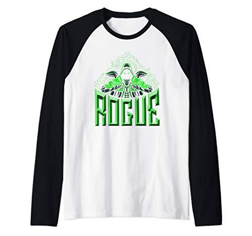 Elven Rogue Assassin Fantasy Class Graphic Shirts for Gamers Raglan Baseball Tee