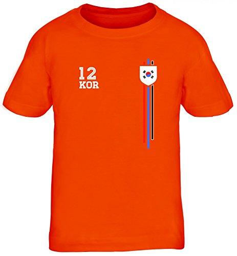Soccer World Cup Fussball WM Fanfest Gruppen Kinder T-Shirt Rundhals Mädchen Jungen Streifen Trikot Korea, Größe: 110/116,orange