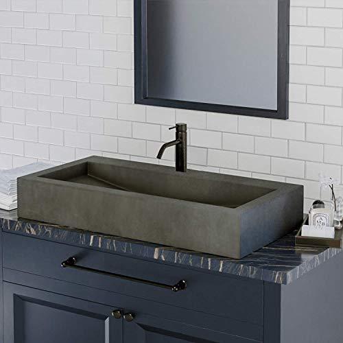 Magnus Home Products Toxey Rectangular Cast Concrete Vessel Bathroom Sink, Dusk Grey, 35 1/2' L x 17 7/8' W, 190.0 lb