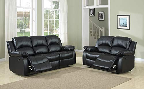 A Ainehome Recliner Sofa Living Room Set Reclining Couch Sofa Loveseat Manual Motion Recliner Home Theater Seating (Bonded Leather, Black, 2 PCS)
