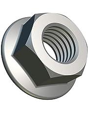 M6 Tuercas de Brida con Dentado de Bloqueo (Paquete de 100) Hex Chapado en Zinc de Acero Galvanizado para Pernos/Tornillos - Cierre Fastener Hexagonales Estándar Certificado DIN 6923 (14.2mm x 10mm)