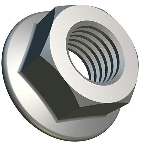 M8 Tuercas de Brida con Dentado de Bloqueo (Paquete de 50) Hex Chapado en Zinc de Acero Galvanizado para Pernos/Tornillos - Cierre Fastener Hexagonales Estándar Certificado DIN 6923 (17.9mm x 13mm)