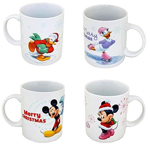 VDP 1x Disney Donald 1x Daisy Duck 1x Mickey 1x Minnie Mouse Becher Weihnachten Kaffebecher Porzellan
