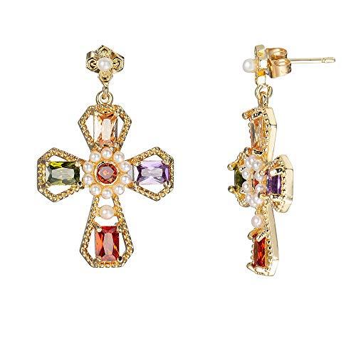 NanYangLinYiZuanJingGongChengGongSi Pendiente de la Perla circonio cúbico Cruz Stud Pendientes for Las Mujeres Barroco vintgae joyería Grande de Moda New Exotic Earrings Jewelry