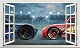 Pegatinas de pared Cars Magic Window Wall Autoadhesivo Etiqueta engomada de la impresión del cartel 3D arte Mural impresión cartel decoración - 50×70cm