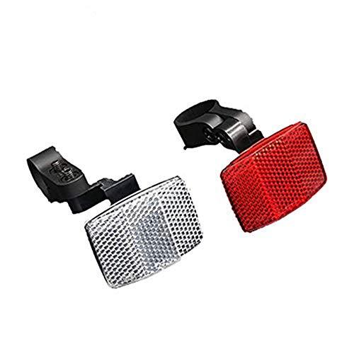 Popluxy 2 Stück Fahrrad-Speichenreflektoren-Set Weiss und Rot für Vorne und Hinten mit Haltern