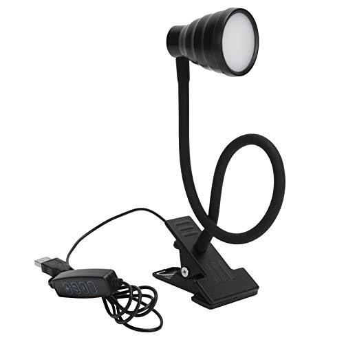 Lámpara de Clip Ajustable - Lámpara de Escritorio con Carga USB 3 Modos de Color 10 Luz de Lectura con atenuación de Brillo - Luz de Clip Flexible de Cuello de Cisne de 360 °(Negro)