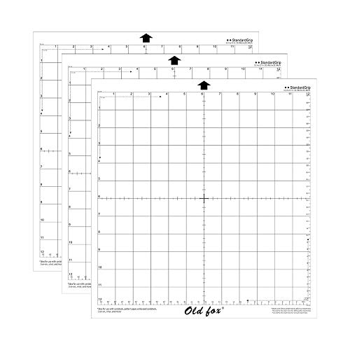 Tapete de corte de reposição Aibecy Old Fox StandardGrip tapete adesivo transparente com grade de medição 30,5 cm para máquina plotter Silhouette Cameo, 3 peças