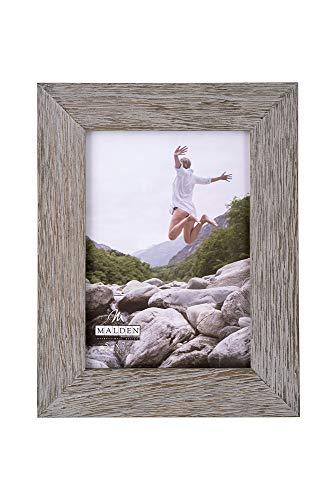 Malden International Designs Rustic Fashion Wide Linear Graywash Wooden Picture Frame, 5x7, Gray