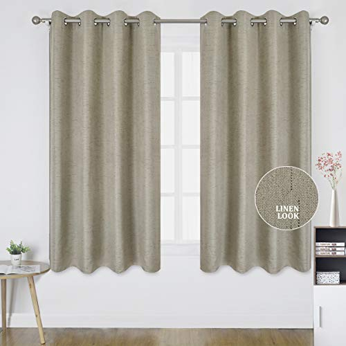 Homeideas Texturierte Vorhänge für Schlafzimmer und Wohnzimmer, Rauschunterdrückung & Wärmeisolierende Ösen, Polyester, beige, W52 X L63 (2 Panels)