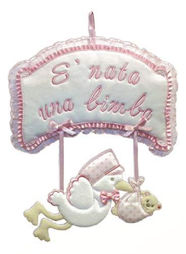"""Schleife zur Geburt mit Storche: """"Es wurde ein Mädchen geboren"""" bereits bestickt, komplett aus reiner Baumwolle und in Italien verarbeitet"""