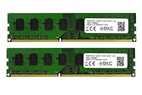 DILC RAM Dimm DDR3 8GB (2x4GB) 1600Mhz PC3-12800 (240 Pin) 1.35v (Low Voltage) Memoria Computer Desktop
