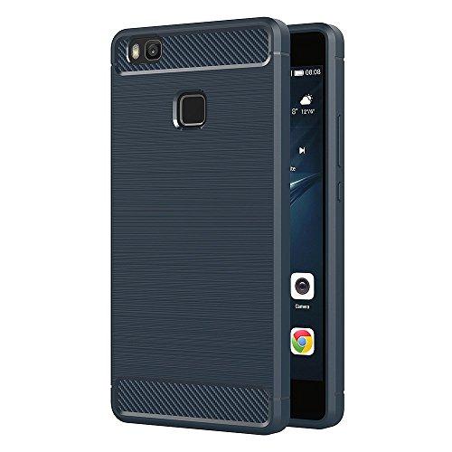 AICEK Funda Huawei P9 Lite, Azul Silicona Fundas para Huawei P9 Lite Carcasa P9 Lite Fibra de Carbono Funda Case (5,2 Pulgadas)