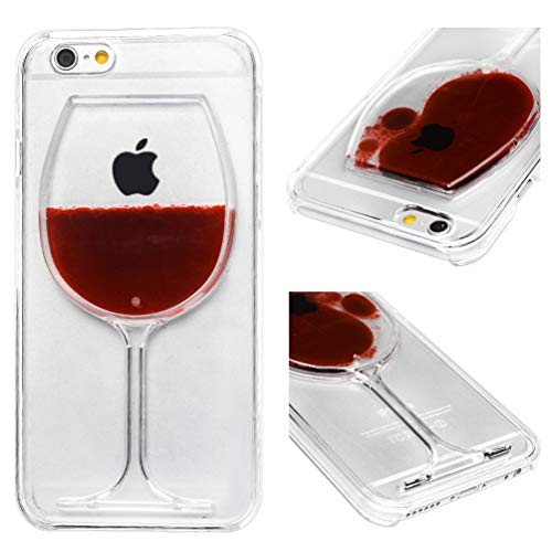 ToneSun Funda para iPhone 6, iPhone 6S con purpurina, suave TPU con arena flotante, goma de silicona en la parte trasera, resistente a los golpes, ultra fina, copa de vino tinto
