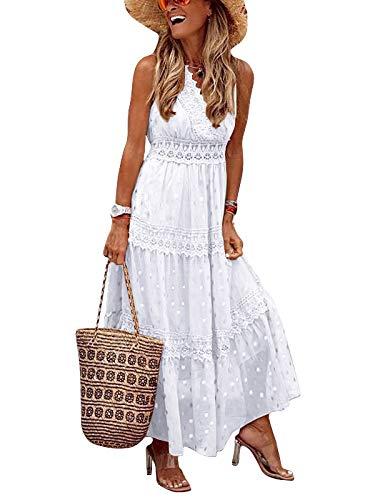 Eledobby Damen Cross Wrap Kleid Maxi Sexy Boho Kleider mit V-Ausschnitt für Damen Polka Dot Pailletten Ärmellose Abendkleider Sommer Elegante Kleidung für Beach Party White M