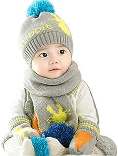 0d53ddd5641a5 2Pcs Ensemble Bonnet Écharpe Enfant Chapeau Laine Tricoté Hiver Tour de Cou  Chaud Bonnets de Ski