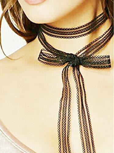 Deniferymakeup Extra lange Halskette, schwarze Schleife, Halsband, Halsband, Schnürung, doppelschichtige Schnürung, süße, klassische Lolita-Stil, Spitze, Choker mit Perlenanhänger, lange Wickelkragen