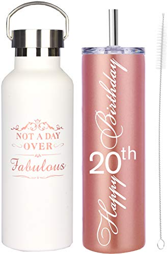 20th Birthday Gifts for Girl, 20 Birthday Gifts, Gifts for 20th Birthday Girl, 20th Birthday Decorations, Happy 20th Birthday Water Tumbler, 20th Birthday Tumblers, 20th Birthday Water Tumbler Set