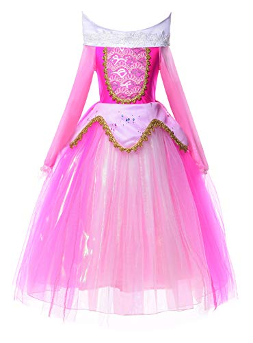 JerrisApparel New Princess Costume Girls Party Role Paly Dress up (4T, Pink)