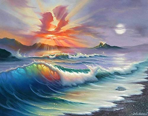 Flduod Abstrakter Liebhaber Wellen Ölgemälde Druck auf Leinwand Wandkunst Dekoration Bild-60x90cm