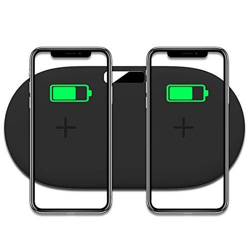 CUHAWUDBA Dual Charging Pad, 10 W Qi-Zertifiziertes Schnellladeger?T Zwei Telefone Kompatibel mit X / 8, Note 8 / S8, S7, S6 Andere Qi-F?Hige Telefone