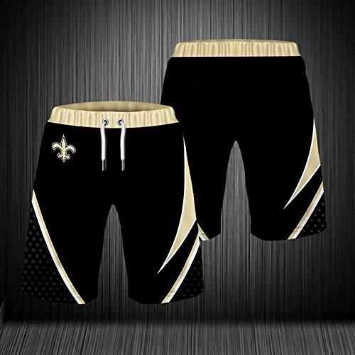 NFL Sommer Herren Shorts, New Orleans Saints Strandhose, 3D gefärbte und gefärbte atmungsaktive Stretch Trainingshose für Outdoor Training und Laufen