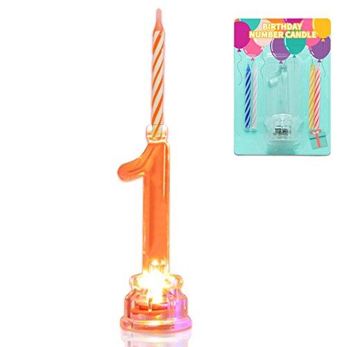 Multicolor knipperende aantal kaarsenset, nieuwigheid plaats kleur veranderende LED verjaardagstaart topper met 4 wax kaarsen (nummer 1)