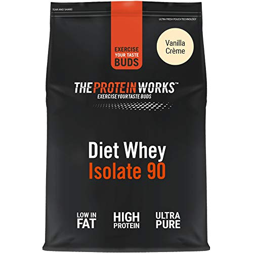 THE PROTEIN WORKS Diet Whey Isolate 90 Protein Powder | Low Fat & Low Calorie | Ultra Pure Shake | Supports Dieting & Weight Loss | Vanilla Crème | 1 Kg