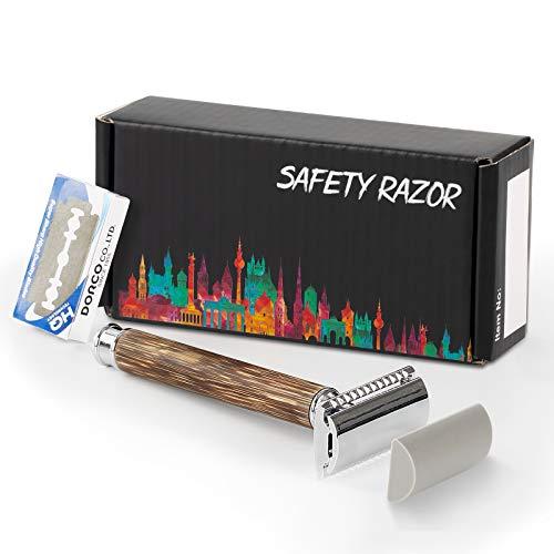 Wskderliner Präzises Premium-Rasiermesser + Hochwertige PU-Ledertasche + Ersatzklingen(10pcs) Shaving Artist Handgefertigtes Rasiermesser mit Weinroter Holzgriff …