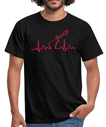 Lines of Heart Herz Puls Elektrokardiogramm Guitar Gitarre Männer T-Shirt, XL, Schwarz