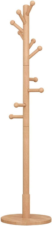 ZXW Coat Rack- Modern Minimalist Household Solid Wood Coat Rack, Living Room Bedroom Floor Hanger Coat Rack (color   Wood color, Size   W38xH180cm)
