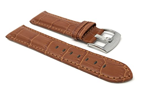 24mm Correa reloj de cuero auténtico, Marrón Rojizo, Aligator grano, hebilla de acero inoxidable, también disponible en negro, marrón, azul, rojo