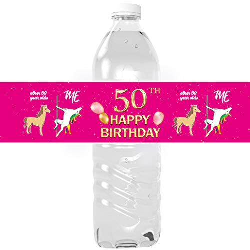 50th Birthday Party Water Bottle Labels - 50th Birthday Decorations Gifts for Women - 50 Years Pink Theme Birthday Party Decorations - 24 Shiny Foil Stickers