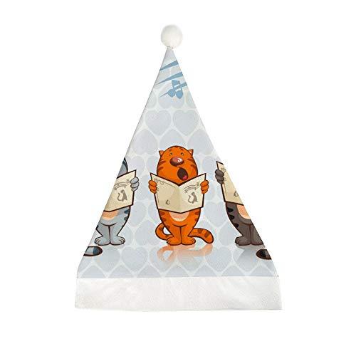 Mesllings Weihnachtsmütze mit drei Tigern sind singend bedruckt, lustige Party-Hut, Weihnachten, Weihnachten, Weihnachten, Geschenke, für Unisex und Erwachsene 58x40cm
