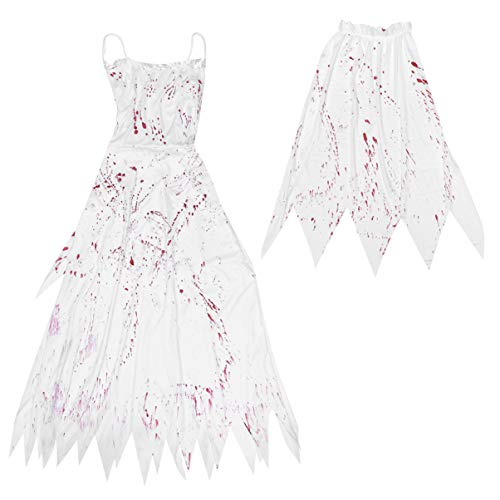 TOYANDONA Halloween Brautkleid Zombie Braut Kostüm Beängstigend Zombie Blutiges Kostüm für Cosplay Maskerade