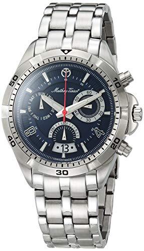 MATTHEY-TISSOT Bolton H5002CHABU - Reloj de cuarzo para hombre, correa de acero inoxidable, color plateado