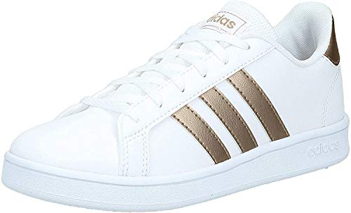 adidas Grand Court K, Chaussures de Tennis Mixte Enfant, Multicolore (Ftwwht/Coppmt/Glopnk 000), 38 2/3 EU