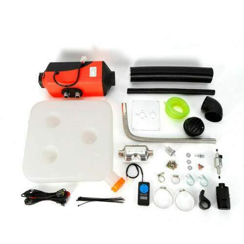 Calentador de aire diésel de baja emisión, 2 kW, 12 V, color rojo, para calentar la cabina de camiones, furgonetas, calefactor de estacionamiento, elimina el hielo